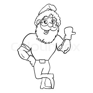 Muscular Santa Claus with a raised hand gesture