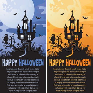 Halloween background with Castle in different colors, element for design, vector illustration