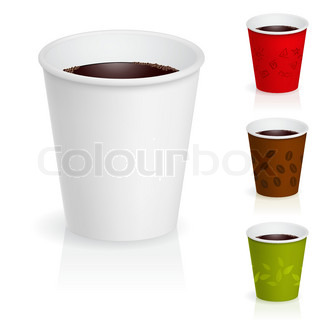 Cups of coffee illustration Isolated on white background