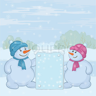 Snowman boys with the poster in the winter forest Vector