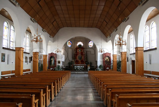 Interior of a church in bright tones