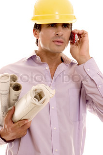Project manager, architect, builder holding plans and talking on the phone White background