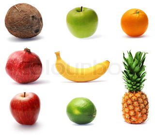 Collection of fresh ripe fruit, finely retouched and in high-resolution