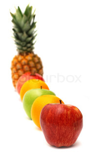 Row of bright fresh fruits