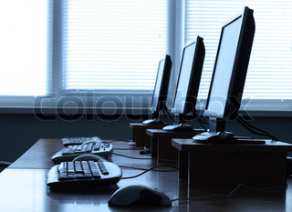 Row of computers in an office