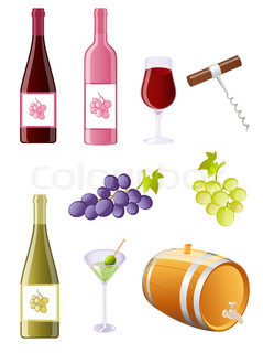 wine and grapes icon set