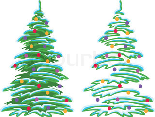 Christmas holiday tree with ornaments: balls and stars, vector