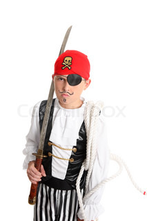 Pirate holding a sword and mariners ropeeg halloween, costume party, theatre, or school play