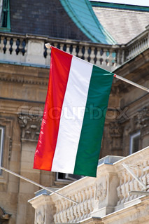 the hungarian national flag in their red-white-green