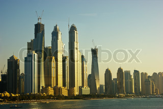 view of the city Dubai by the Bay Creek, UAE