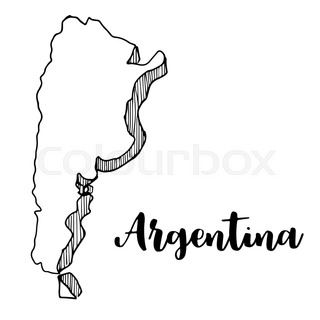Argentina Country Black Silhouette And With Flag On Background - Argentina map black and white