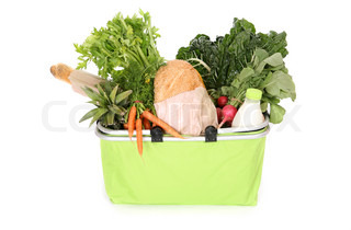 Milk, bread, fruit and vegetables in an eco friendly shopping basket