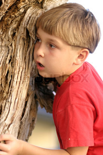 A young boy plays hides behind a tree