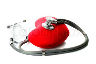 Medical stethoscope with red heart isolated on white