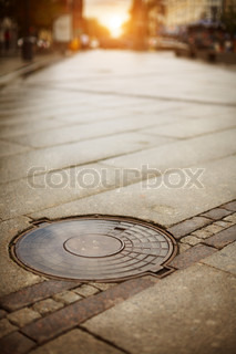 Manhole cover, selective focus