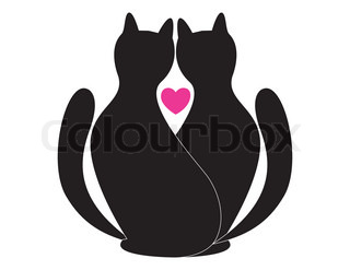 in love black cats with red heart