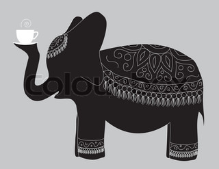 large beautiful elephant carries the cup of fragrant tea
