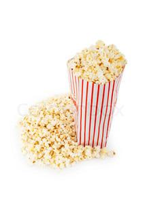 Popcorn Tüte auf dem weißen Hintergrund isoliert