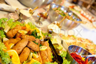 Buffet table at a dinner party
