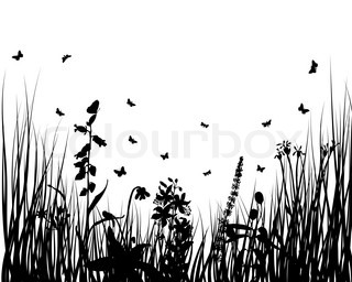Vector grass silhouettes backgrounds with insects