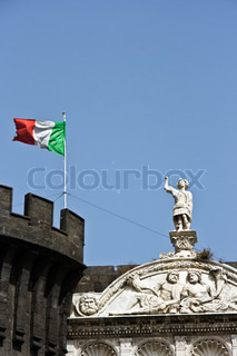 Sculpture on a castle building in Naples Italy