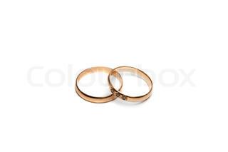 Paar goldene Ehering mit Diamant.
