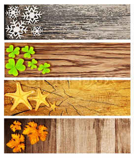 Four season wooden banners, collage of abstract natural backgrounds with seasonal symbols, life cycle concept