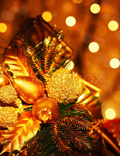 Christmas tree ornament & decoration as holiday background with golden defocus lights