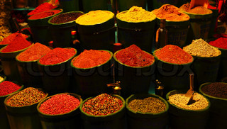 Diversity of spices, variety of different kinds of spice, colorful background