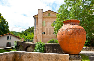 Large Clay Pot Decorating the Streets of the Medieval French City