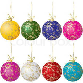 Set of eight christmas balls of different colors