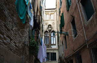 One of narrow small streets in Venice