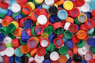 color plastic caps as easy recycle background