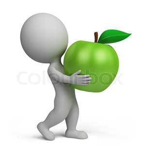3d small person carrying a green apple