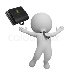 3d small person - businessman jumping with joy and threw his briefcase