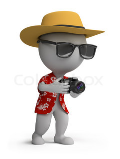 3d small person - tourists in a Hawaiian shirt, hat and sunglasses with a camera