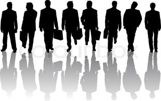 Collection of business people silhouettes with shadows