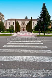 Crosswalk in Front of a Historic Building in Burgos, Spain