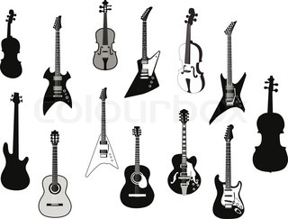 Set of detailed vector silhouettes different guitars