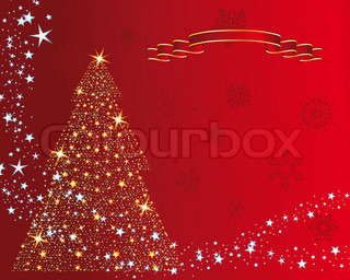 Christmas (New Year) fir-tree with stars Vector illustration