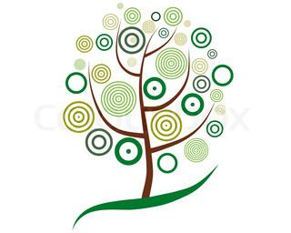 Vektor illustration af træ med cirkel blade