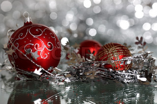 Christmas tree decoration on silver blurred background