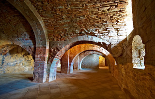 Vaulted Dungeon of Royal Monastery in Aragon, Spain