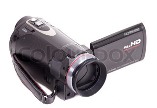Black hd video camera isolated on white background