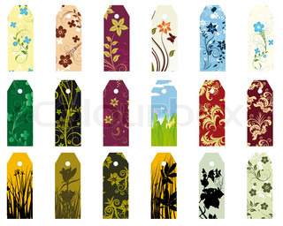 Set of  different vector floral  bookmarks for design use