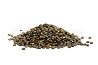 french green puy lentils, isolated on the white background