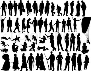 Big vector collection of different silhouettes people
