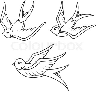 Set Of Swallow Tattoo Templates Isolated On White Background Bird Icons