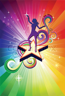 Disco dancing girl diva colorful background