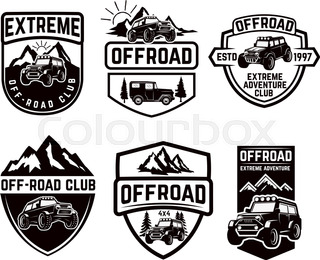 Off Road 4x4 Extreme Car Adventure Club Logo Vector Icon Of Off